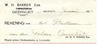GE_BAKKER_001 Geervliet, Bakker - W.H. Bakker Ezn. Timmerman Geervliet, (1926)