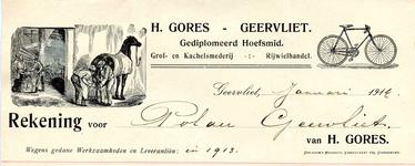 GE_GORES_001 Geervliet, Gores - H. Gores, Geervliet. Gediplomeerd Hoefsmid. Grof- en kachelsmederij. Rijwielhandel, (1914)