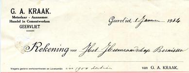 GA_KRAAK_001 Geervliet, Kraak - G.A. Kraak, metselaar - Aannemer. Handel in cementwerken Geervliet, (1914)