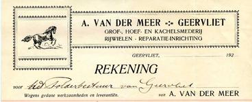 GE_MEER_002 Geervliet, Van der Meer - A. van der Meer, Geervliet. Grof-, hoef- en kachelsmederij. Rijwielen, ...