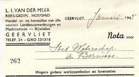 GE_MEER_003 Geervliet, Van der Meer - L.I. van der Meer, Rijks-gedipl. hoefsmid. Handel in- en herstellen van alle ...