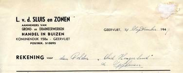 GE_SLUIS_001 Geervliet, v.d. Sluis - L. v.d. Sluis en zonen. Aannemers van grond- en draineerwerken. Handel in buizen, (1947)
