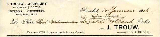 GE_TROUW_001 Geervliet, Trouw - J. Trouw Geervliet (voorheen A.J. de Vos) Stoomgrutterij - Spliterwtenfabriek, (1916)