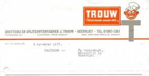 GE_TROUW_003 Geervliet, Trouw - J. Trouw, Grutterij en spliterwtenfabriek Geervliet. Vertrouwd sinds 1896, (1978)