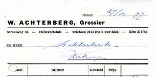 HE_ACHTERBERG_001 Hellevoetsluis, Achterberg - W. Achterberg, Grossier, (1977)