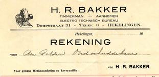 HK_BAKKER_001 Hekelingen, Bakker - H.R. Bakker, Timmerman - Aannemer. Electro technisch bureau