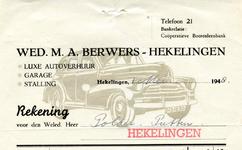 HK_BERWERS_001 Hekelingen, Berwers - Wed. M.A. Berwers, luxe autoverhuur, garage, stalling, (1948)
