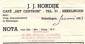 HK_HORDIJK_002 Hekelingen, Hordijk - Café Het Centrum J.J. Hordijk, (1953)