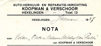 HK_KOOPMAN_001 Hekelingen, Koopman - Auto-verhuur- en reparatie-inrichting Koopman & Verschoor, (1927)