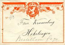 HK_KRANENBURG_002 Hekelingen, Kranenburg - Fam. Kranenburg, Rijks Telegraaf - Geluktelegram, (1935)