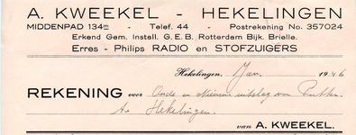 HK_KWEEKEL_001 Hekelingen, Kweekel - A. Kweekel, erkend gem. install. G.E.B. Rotterdam Bijk. Brielle. Erres - Philips ...
