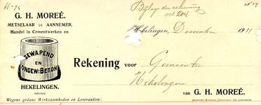 HK_MOREE_004 Hekelingen, Moree - G.H. Moreé. Metselaar - Aannemer. Handel in cementwerken en gewapend en ongew. beton, (1911)