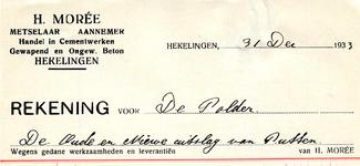 HK_MOREE_006 Hekelingen, Moree - H. Moreé. Metselaar - Aannemer. Handel in cementwerken. Gewapend en ongew. beton, (1933)