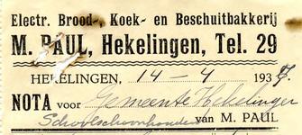 HK_PAUL_001 Hekelingen, Paul - Electr. Brood-, Koek- en Beschuitbakkerij M. Paul, (1937)
