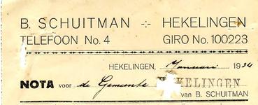 HK_SCHUITMAN_001 Hekelingen, Schuitman - B. Schuitman, (1934)