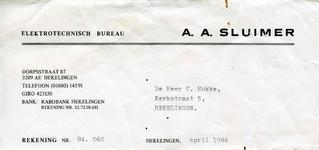 HK_SLUIMER_001 Hekelingen, Sluimer - Elektrotechnisch Bureau A.A. Sluimer, (1984)