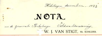 HK_STIGT_002 Hekelingen, Stigt - W.J. Stigt, Mr. Schilder, (1933)