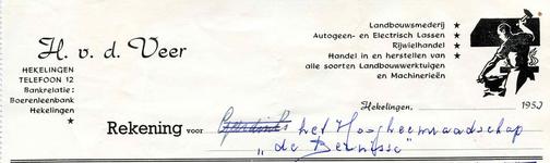 HK_VEER_001 Hekelingen, Veer - H. v.d. Veer. Landbouwsmederij, Autogeen- en Electrisch lassen, rijwielhandel, Handel in ...