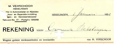 HK_VERSCHOOR_001 Hekelingen, Verschoor - M. Verschoor, Handel in Automobielen en Rijwielen. Verhuur- en ...