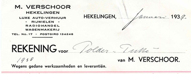 HK_VERSCHOOR_002 Hekelingen, Verschoor - M. Verschoor. Luxe auto-verhuur. Rijwielen, Radiohandel, Wagenmakerij, (1939)