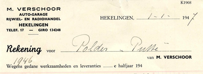 HK_VERSCHOOR_003 Hekelingen, Verschoor - M. Verschoor. Auto-Garage. Rijwiel- en radiohandel, (1947)