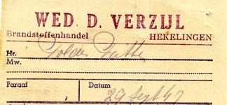 HK_VERZIJL_001 Hekelingen, Verzijl - Wed. D. Verzijl, Brandstoffenhandel, (1947)