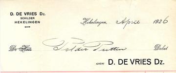 HK_VRIES_001 Hekelingen, Vries - D. de Vries Dz., Schilder, (1926)