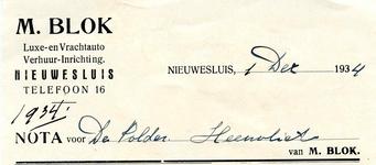 HV_BLOK_001 Heenvliet, Blok - M. Blok, luxe- en vrachtauto verhuur-inrichting Nieuwesluis, (1934)