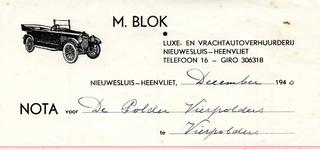 HV_BLOK_002 Heenvliet, Blok - M. Blok, luxe- en vrachtautoverhuurderij Nieuwesluis-Heenvliet, (1940)
