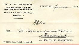 HV_BOERE_001 Heenvliet, Boere - W.L.E. Boere, goederenvervoer en autoverhuur-inrichting, (1933)