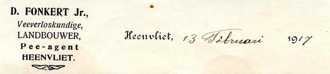 HV_FONKERT_001 Heenvliet, Fonkert - D. Fonkert, Veeverloskundige, landbouwer, pee-agent Heenvliet, (1917)