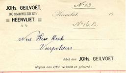HV_GEILVOET_004 Heenvliet, Geilvoet - Johs. Geilvoet, boomkweeker Heenvliet, (1921)