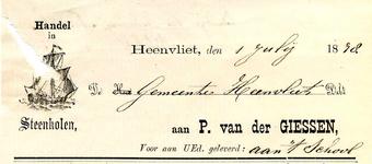 HV_GIESSEN_002 Heenvliet, Giessen - P. van der Giessen, handel in steenkolen, (1878)