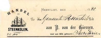 HV_GIESSEN_003 Heenvliet, Giessen - P. van der Giessen, handel in steenkolen, (1887)
