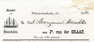 HV_GRAAF_001 Heenvliet, Van der Graaf - Jb. van der Graaf, handel in steenkolen Nieuwesluis, (1881)
