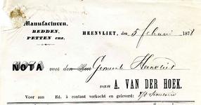 HV_HOEK_001 Heenvliet, Van der Hoek - A. van der Hoek, manufacturen, bedden, petten enz., (1878)