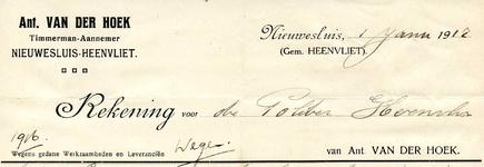 HV_HOEK_002 Heenvliet, Ant. van der Hoek - Timmerman-Aannemer Ant. van der Hoek, Nieuwesluis-Heenvliet, (1917)