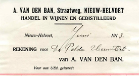 NH_BAN_001 Nieuw-Helvoet, Van den Ban - A. van den Ban. Handel in wijnen en gedistilleerd, (1918)