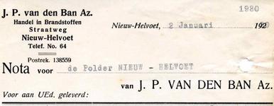 NH_BAN_003 Nieuw-Helvoet, Van den Ban - J.P. van den Ban Az. Handel in brandstoffen, (1930)