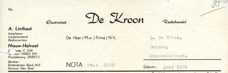 NH_KROON_001 Nieuw-Helvoet, De Kroon - Electriciteit Radiohandel De Kroon. Installateur, gediplomeerd radiomonteur, (1959)
