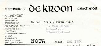 NH_KROON_002 Nieuw-Helvoet, De Kroon - Electriciteit Radiohandel De Kroon. Installateur, gediplomeerd radiomonteur, (1954)