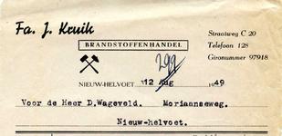 NH_KRUIK_001 Nieuw-Helvoet, Kruik - Fa. J. Kruik. Brandstoffenhandel, (1949)