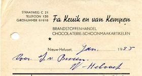 NH_KRUIK_002 Nieuw-Helvoet, Kruik - Fa. Kruik en van Kempen. Brandstoffenhandel. Chocolaterie-schoonmaakartikelen, (1955)