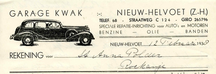 NH_KWAK_001 Nieuw-Helvoet, Kwak - Garage Kwak. Speciale reparatie-inrichting voor auto's en motoren. Benzine, Olie, ...