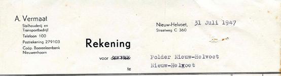 NH_VERMAAT_008 Nieuw-Helvoet, Vermaat - A. Vermaat, Stalhouderij en transportbedrijf, (1947)