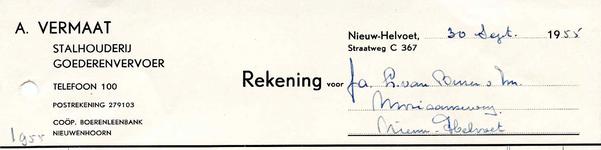 NH_VERMAAT_010 Nieuw-Helvoet, Vermaat - A. Vermaat. Stalhouderij, goederenvervoer, (1955)