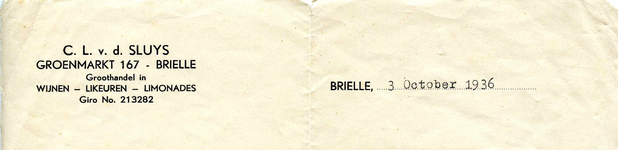 BR_SLUYS_001 Brielle, Sluys - C.L. v.d. Sluys, Groothandel in wijnen, likeuren, limonades, (1936)