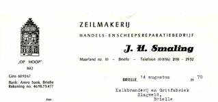 BR_SMALING_002 Brielle, Smaling - J.H. Smaling: Zeilmakerij, handels- en scheepsreparatiebedrijf OP HOOP , (1970)