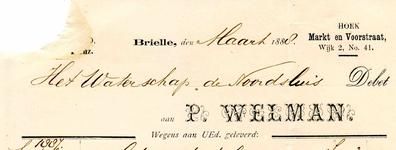 BR_WELMAN_010 Brielle, Welman - P. Welman. Koffie, Thee, Kruidenierswaren enz. Brielle, (1888)