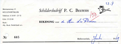 HE_BEERENS_001 Hellevoetsluis, Beerens - Schildersbedrijf P.C. Beerens, (1969)